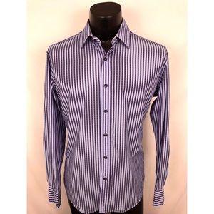 Quieti Button Up Striped Blue Purple Cotton M
